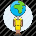 2, business, global, head, people, woman, world icon