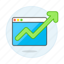 analytics, app, arrow, browser, business, green, growth, increasing, software, up icon