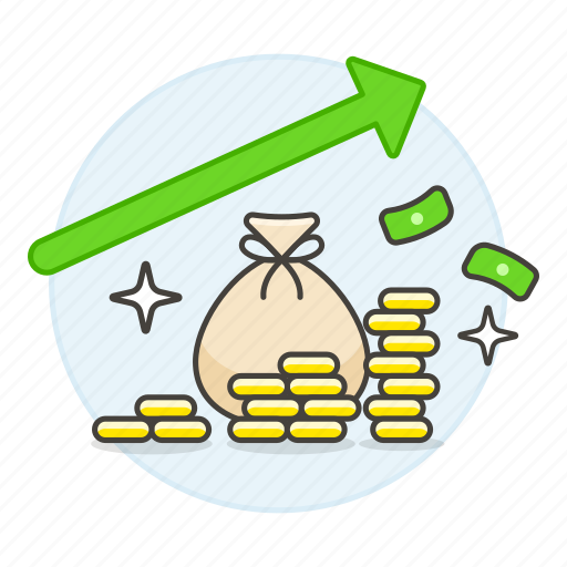 analytics, arrow, bag, business, economic, green, growth, income, increase, increasing, money, revenue icon