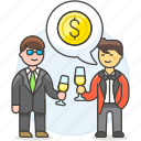 agreement, benefit, business, celebration, chat, deal, invest, investment, man, meetings, party icon