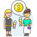 agreement, benefit, business, celebration, chat, deal, invest, investment, meetings, party, woman icon