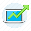 analytics, arrow, business, green, growth, increasing, laptop, up icon