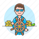 admin, boss, business, captain, chief, control, leader, leadership, man, management, strategy icon