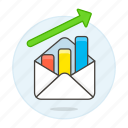 analytics, arrow, business, chart, email, envelope, graph, increasing, letter, up icon