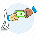 business, commerce, contracts, currency, deals, money, online, payment, purchase, send icon