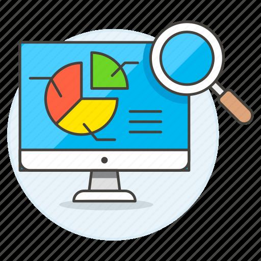 analytics, analyze, app, business, chart, computer, desktop, graph, imac, mac, optimize, pc, pie, search icon