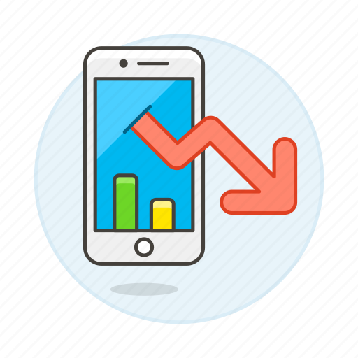 analytics, app, arrow, bar, business, chart, decreasing, down, graph, line, phone, smartphone icon