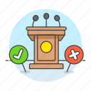 against, business, conference, for, no, podium, press, stand, strategy, vote, yes icon