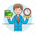 balance, business, cash, efficiency, efficient, man, money, productivity, strategy, time icon