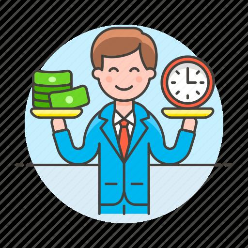 balance, business, cash, efficiency, efficient, man, money, productivity, strategy, time icon