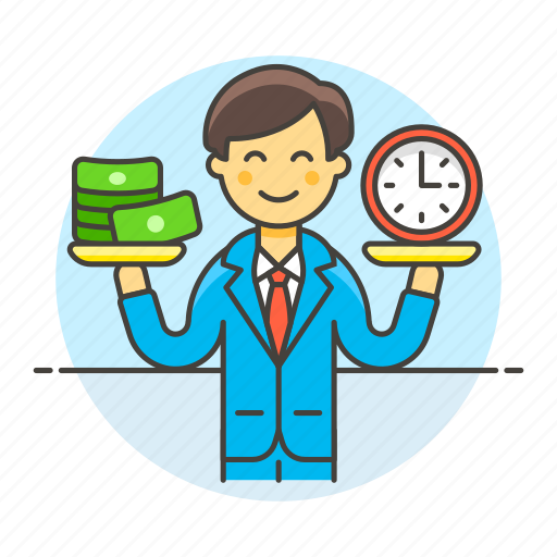 1, balance, business, cash, efficiency, efficient, man, money, productivity, strategy, time icon