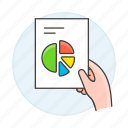 analytics, business, chart, doc, document, file, graph, hand, pie, report icon