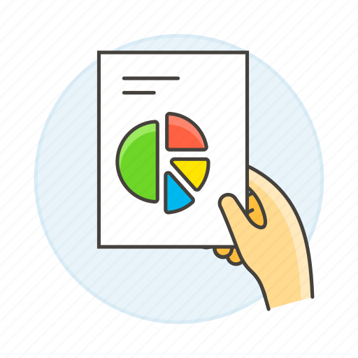 1, analytics, business, chart, doc, document, file, graph, hand, pie, report icon