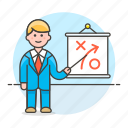 business, businessman, man, path, plan, presentation, report, strategy, tactic icon