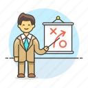 2, business, businessman, man, path, plan, presentation, report, strategy, tactic icon