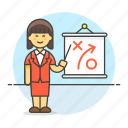 business, businessman, path, plan, presentation, report, strategy, tactic, woman icon