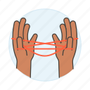 2, ayatori, business, figure, game, hand, metaphors, string, tangle icon