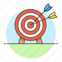 arrow, business, dart, goal, objective, red, shoot, strategy, target icon