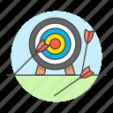 aim, arrow, bad, business, dart, fail, miss, objective, strategy, target icon