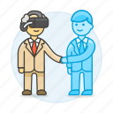 agreement, assistant, augmented, bot, business, contracts, deals, man, reality, virtual icon