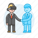 agreement, assistant, augmented, business, contracts, deals, man, reality, virtual icon