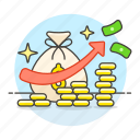 bag, business, cash, financial, growth, increasing, metaphors, money, wealth icon