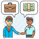 agreement, business, contract, deal, man, meetings, purchase, sell, work icon