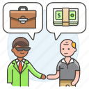 2, agreement, business, contract, deal, man, meetings, purchase, sell, work icon