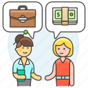 work, meetings, agreement, contract, woman, business, deal, purchase, sell icon