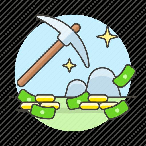 business, cash, coin, metaphors, mining, money, pick, resource, work icon