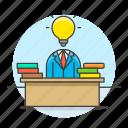 business, creative, desk, idea, ideas, light, lightbulb, office, solution, work icon