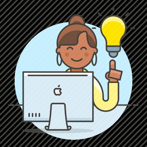 apple, business, creative, digital, idea, ideas, imac, light, lightbulb, mac, pc, solution, woman, work icon