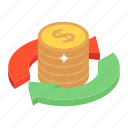 cash flow, debt, monetary policy, money flow, money transfer, rotate money icon