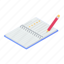 copywriting, drafting pad, jotter, notepad, writing pad icon