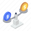 balance scale, dollar vs euro, equality, financial balance, money comparison icon