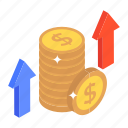 earnings, financial growth, money increase, profit, yield icon