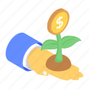 business development, dollar plant, financial growth, investment, money growth, money plant icon