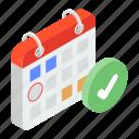 event schedule, schedule, timetable, verified calendar, year planner icon