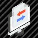 data swipe, data sync, data transfer, data transformation, file exchange icon
