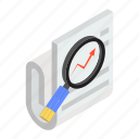 case analysis, case study, data explore, file review, support case, trend analysis icon