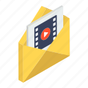 correspondence, mail video, media email, mms, video email icon
