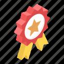 achievement, award, award badge, reward, ribbon badge, star badge icon
