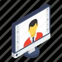 computer user, freelancer, online employee, user profile, webinar icon