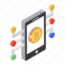 bitcoin network, business app, digital payment, mobile bitcoin, mobile payment, online blockchain, online cryptocurrency icon
