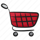 buying cart, commerce, handcart, pushcart, shopping trolley icon