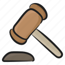 auction hammer, financial justice, justice equipments, law, mallett icon