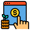 browser, click, cost, hand, money, pay, per icon