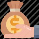 investment, hand, bank, bag, money, fund