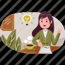 business, illustration, idea, finance, coffee, work, worker