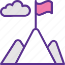 achievement concept, goal, mission, mountain flag, victory icon